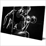 KDLLK Modular Home Decor Canvas HD Print Arte de la Pared Sin Marco 3 Unidades Pintura Pintura Mancuernas Fitness Poster Bodybuilding Pictures-30x60CMx3