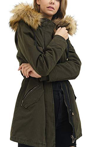 trueprodigy Casual Damen Marken Parka Kunstfell Damenjacke Kapuze Sportlich Anorak Slim Fit Winterjacke Frauen, Farben:Khaki, Größe:XS