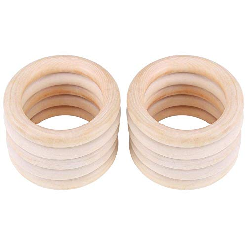 MEDIATECH Juego de 10 anillos mordedores para bebé, de madera orgánica, para manualidades, 10 unidades, juguete (sin BPA), 70 mm, pulsera de madera natural, fabricado en Alemania