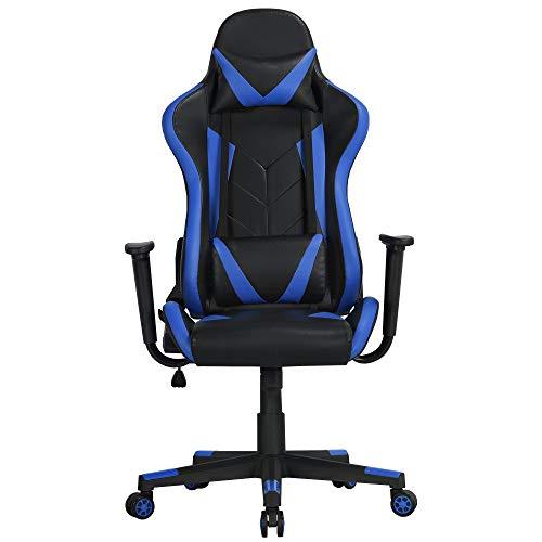 Yaheetech Gaming Stuhl Bürostuhl Drehstuhl Sportsitz Chefsesse Ergonomisches Design mit Wippfunktion Gamer Stuhl Höhenverstellbarer Kunstleder Racingstuhl Blau