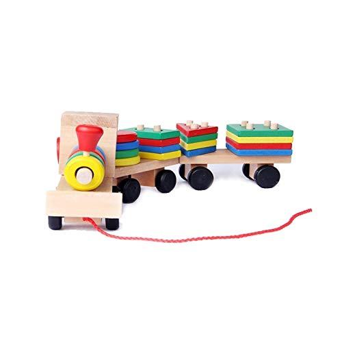ZSYLOVE ZHANGSUYUAN Montessori Juguetes Educativos Juguetes de Madera para niños Aprendizaje temprano Formas geométricas Conjuntos de Trenes Tres Juegos de carruajes Tractores