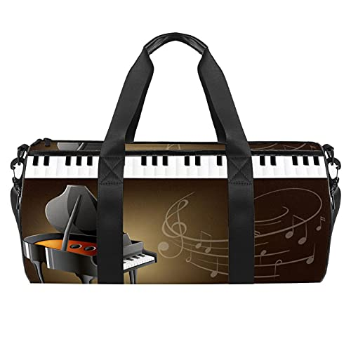 Piano de cola con teclados y notas musicales bolsa de gimnas