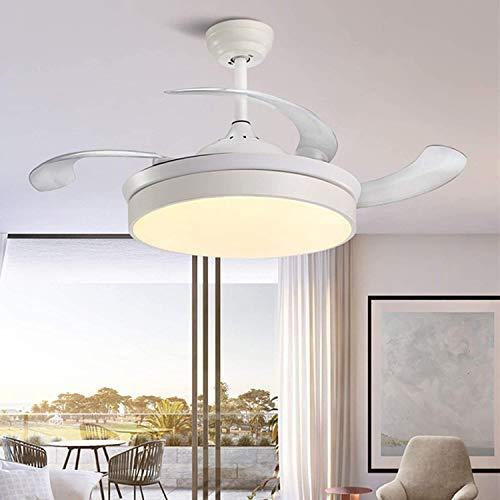 Ventilador de techo con luces, 42'Hojas reversibles y retráctiles, Temporizador de 3 velocidades de 6 colores LED con control remoto, Barra de barra ajustable JUBC (Color : Blanco)