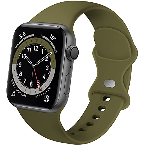 Distore Bands Compatible with Apple Watch 38mm 40mm 42mm 44mm, Soft Silicone Replacement Sport Strap for iWatch SE Series 6/5/4/3/2/1 Women Men, Olive Green 38mm/40mm S/M