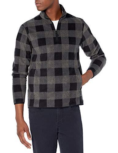 Amazon Essentials Quarter-Zip Polar Fleece Jacket Chaqueta de Forro, Carbón Cuadros Estilo búfalo, S