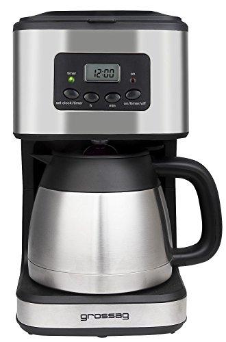 Grossag KA 47.17 Koffiezetapparaat met timer en thermoskan, roestvrij staal, voor 8 kopjes, 1,2 liter, roestvrijstalen thermoskan, digitale klok met timerfunctie, 900 watt