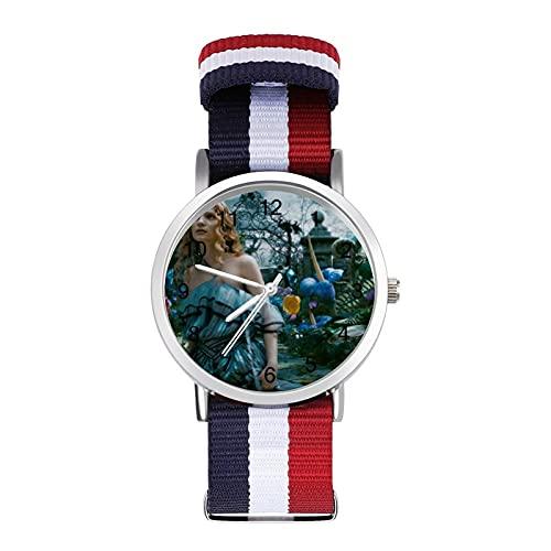 Alice Wonderland- Reloj trenzado con correa de moda ajustable para negocios, color de impresión de banda adecuada tanto para hombres como para mujeres