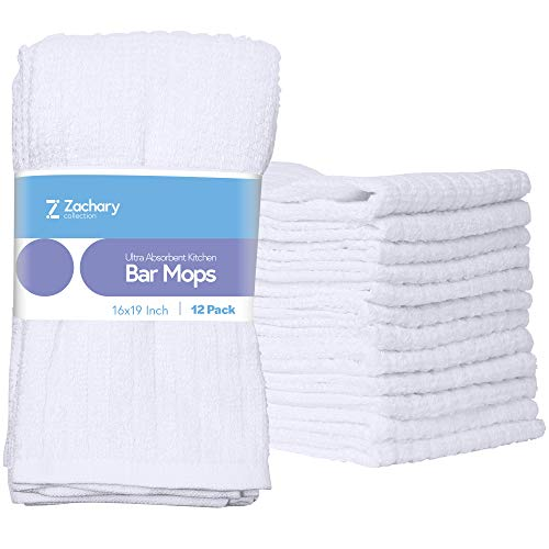 """Zachary Collection Cleaning Towels [12 Pack - 16"""" x 19""""] Kitchen White Ultra Absorbent Bar Mops, 100% Cotton Dish Cloths, Utility Rags, Hand Washcloths"""
