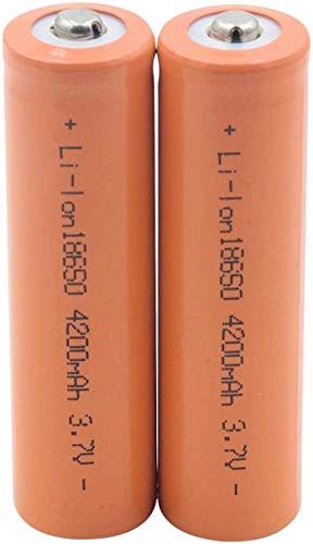 18650 Batería De Litio Recargable De 3.7 V 4200 Mah Naranja para Linterna Frontal Batería De Micrófono De Banco De Energía-2 Piezas