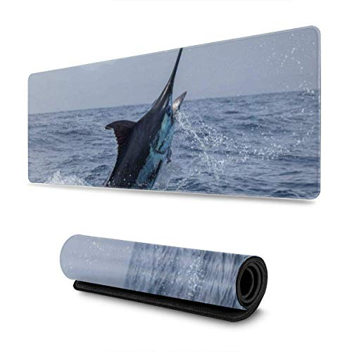 Swordfish Marlin Mouse Pad Gaming Mouse Mat, Thicken Non-Slip Rubber Base Mousepad for Laptop, Computer & PC,11.8x31.5 in