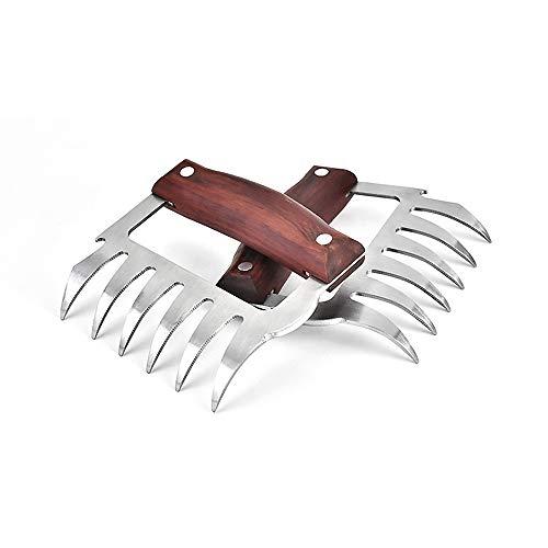 Rain Fairy - Pinzas para barbacoa de acero inoxidable resistente al calor, utensilios de cocina para picar pollo y pavo (marrón)