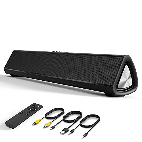 VersionTECH. Bluetooth Sound Bar Computer Speaker Wired Wireless Soundbar Home Theater for Desktop/Laptop PC/Projectors/Smartphone/TV, 20W, Remote Control