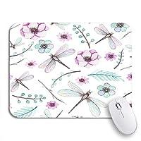 ROSECNY 可愛いマウスパッド カラフルな水彩ピンクの花トンボと水色の葉滑り止めラバーバッキングコンピュータマウスパッドノートブックマウスマット