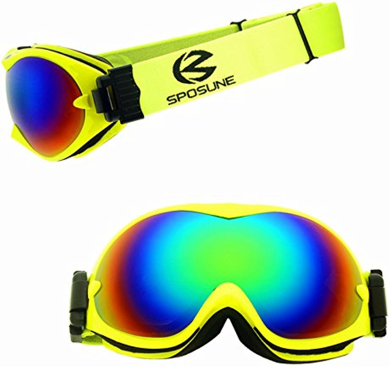 Start Skibrille Bunte Brille Professionelle Herren & Damen Erwachsene Schnee blind doppelt Anti-Fog Anti-Sand (Farbe   Grün)