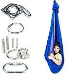 Indoor Therapy Sensory Swing for Kids with Mounting Hardware, Adjustable Snuggle Cuddle Hammock Lycra Swings Has Calming Effect On Child with Special Needs (Blue)