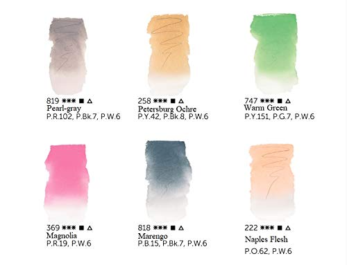 White Nights Watercolours - Set of 6 Pastel Colours of 2020 Newest Colors awaliable 10 ml Tubes Set