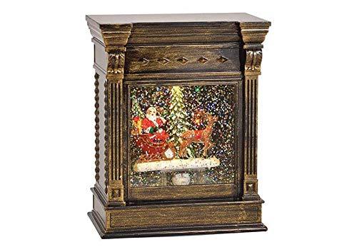 Kamin Nikolaus mit Licht, Glitzer Wirbel aus Kunststoff Schwarz (B/H/T) 13x17x8cm