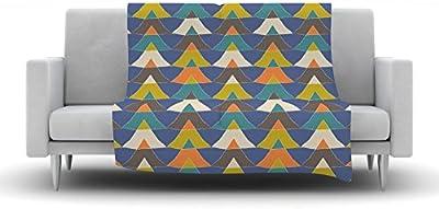 Kess InHouse Heidi Jennings Blue Chevron Gray Aqua Fleece Throw Blanket 60 by 50