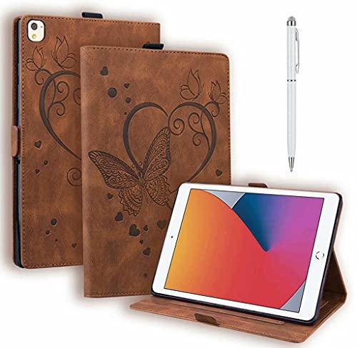 DYGG Compatible con Funda Apple iPad 5th/6th.iPad Air 1.iPad Air 2.Apple iPad 9.7 Inch 2017/2018.iPad Pro 9.7-Inch Carcasa con lápiz táctil Auto-Sueño/Estela marrón