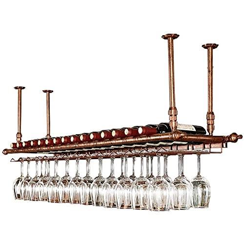 Estante para botellas de vino, de metal, de hierro, de metal, para vino, de techo, de cristal, de vino, de altura ajustable (color: bronce) (tamaño: 100 cm)
