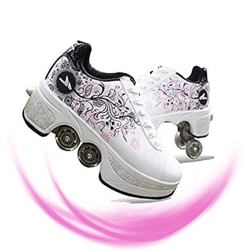 Rollschuhe Mädchen,Damen Skate Roller,2-in-1- Skate Schuhe Sportschuhe Multifunktionale,Deformation Schuhe Für Mädchen,Pink-EUR38