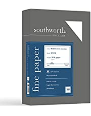 Southworth 25% Cotton Ruled Business Paper, 8.5 x 11 Inches, 20 lb/70 gsm, White, 500 Sheets - Packaging May Vary (403CR), White With Red Rules