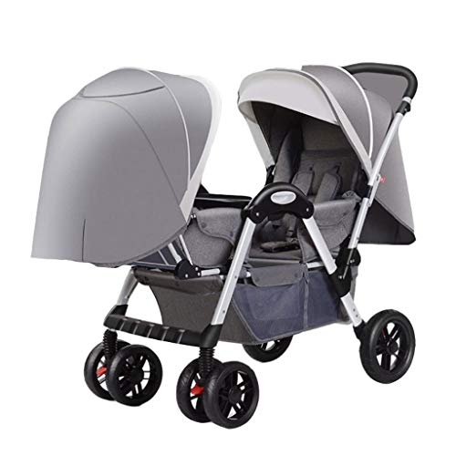 Twin Baby Stroller Double Luxury Lightweight Double Tandem Newborn Doll Stroller Fashion Toddler Carriage Pram Bassinet with 2 Canopy (Color : A)