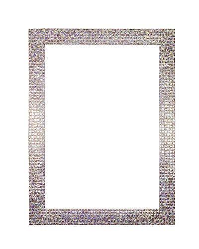 Vierkante fotolijst met achterwand, om op te hangen, met onbreekbaar styreenplaat, 28 x 16 mm, parelwit met glittersteentjes