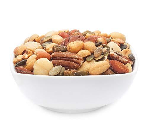 1 x 500g Nusskernmischung fernost mit Erdnüss Pistazie Cashew Pecan Mandel Kürbiskerne 23 % Protein