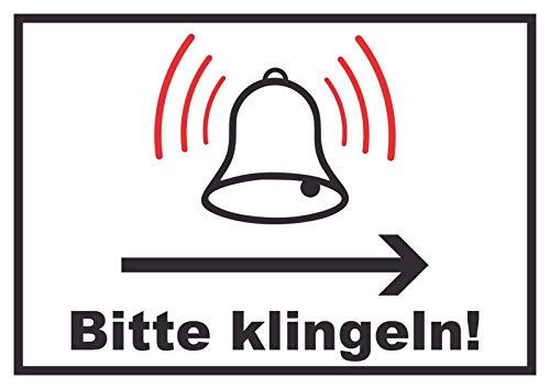 HB-Druck Bitte klingeln Richtungspfeil rechts Schild A4 Rückseite selbstklebend