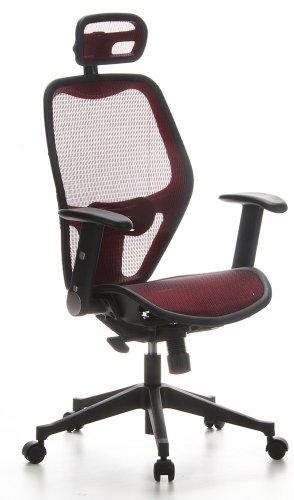 hjh OFFICE 653020 Silla de Oficina Air-Port Tejido de Malla Rojo, apoyabrazos Plegables, Soporte Lumbar, apoyacabezas, inclinable, sillón Alta Gama