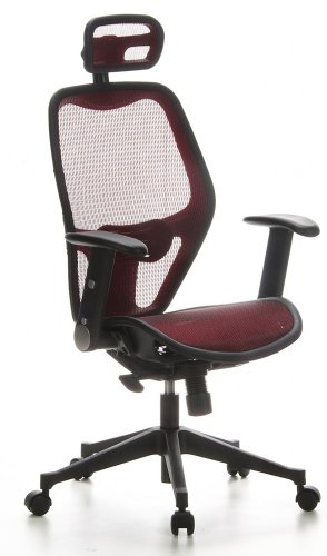 hjh OFFICE 653020 silla de oficina AIR-PORT tejido de malla rojo, apoyabrazos plegables, soporte lumbar, apoyacabezas, inclinable, sillon alta gama