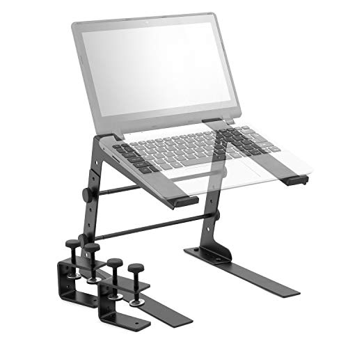 Tiger LEC14-BK Adjustable Table Top DJ Laptop Stand with Desk Clamps, Black, 29.0 cm*6.0 cm*23.0 cm