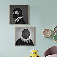 壁アート抽象図黒と白のモダンなキャンバス絵画リビングルームの壁の写真北欧の写真家の装飾-(50X70cm)X2フレームなし