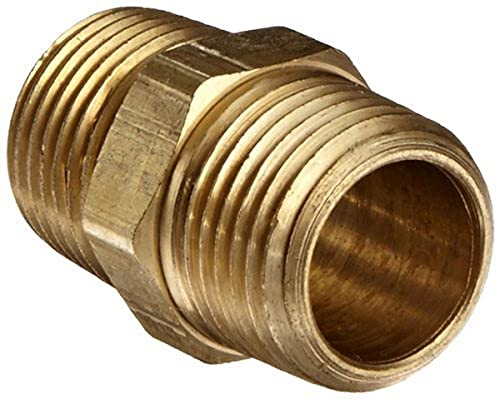 Anderson Metals 56122-08 Brass Pipe Fitting, Hex Nipple, 1/2' x 1/2' NPT Male Pipe