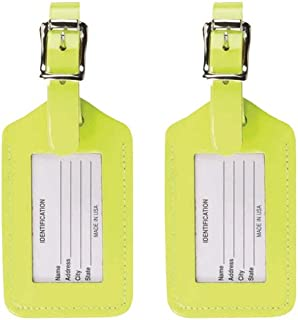 2 Leather Luggage Tag: Travel Accessories, Cruise Luggage Tags for Women + Men, Luggage Identifiers + Name Tag, Yellow (2 Pack)
