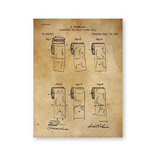 Toilettenpapierrolle Leinwanddrucke und Poster Vintage Toilettenpapierrolle Gemälde Bilder Badezimmer Wanddekoration 20x25cm