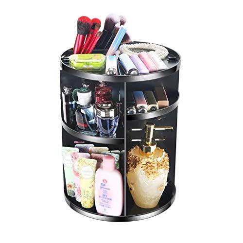 Salle de Bain Organisateur De Maquillage Rotatif à 360 Degrés, Boîte De Rangement Cosmétique Multifonctionnelle Réglable, Grande Capacité, Adaptable à Différents Types Accessoires,Black