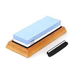 【SUPERIOR KNIFE SHARPENER STONE KIT】:Your SHARPENING STONE SET comes with double sided (#1000/ #6000)premium quality knife stone,silicone base,anti-slip bamboo base holder for holding the water stone,a simple instruction manual,whetstone knife angle ...
