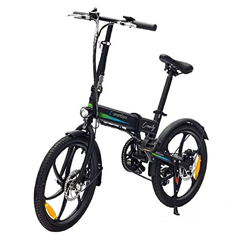"SMARTGYRO Ebike Crosscity Black - Bicicleta Eléctrica Urbana, Ruedas de 20"", Asistente al Pedaleo, Plegable, Batería extraíble de Litio 36V de 4.4 mAh, Freno de Disco, 6 velocidades Shimano"