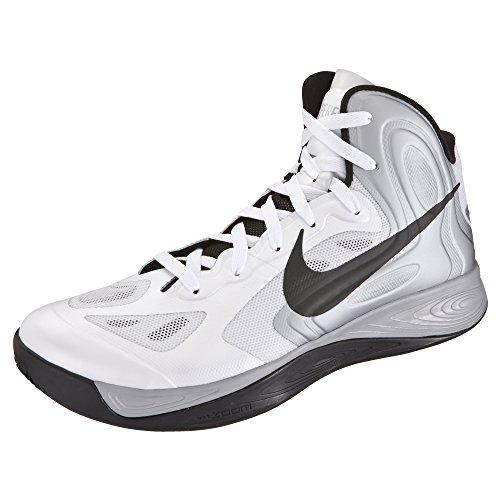 Nike Air Zoom Hyperfuse Basketballschuhe Sneaker, Schuhgröße:EUR 42, Farbe:weiß/silber/schwarz
