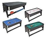 Mesa de juegos 4en 1plegable Air Hockey–Ping Pong–Billar con bandeja para comer.