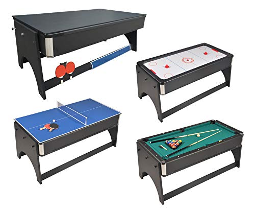Mesa de juegos 4en 1plegable Air Hockey–Ping Pong–Billar con bandeja para c