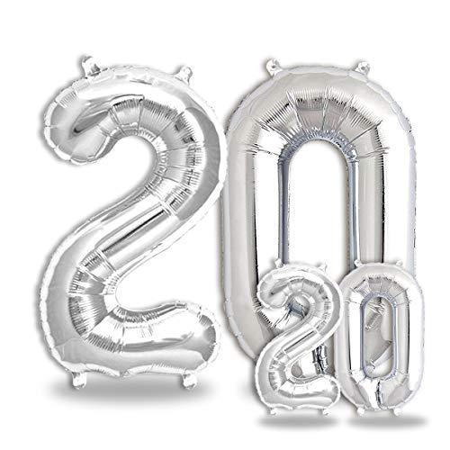 FUNXGO® Party Dekoration Folienballon Zahlen in Silber -100cm+40cm- Geeignet für Geburtstage, Überraschungsparties, Hochzeiten, Jubiläen, Einstände, Abschlüsse und sonstige Feste (Silber[20])