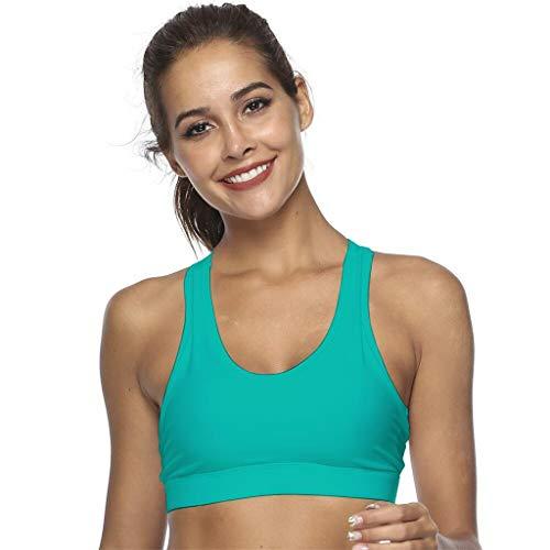 jhgfd Sujetador deportivo para mujer, para correr, yoga, fitness, entrenamiento, sujetador deportivo de sujeción fuerte, bralette, sin aros, funda para teléfono móvil en la parte posterior verde XL