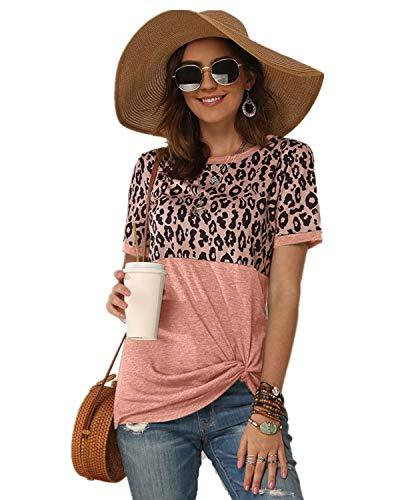Damen T-Shirt Sommer Casual Kurzarm Patchwork Knoten Twist Streifen Leopard Rundhals T Shirt...