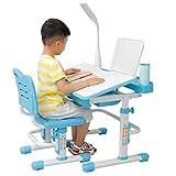 Tisch & Stuhlsets Kinderschreibtisch mit Stuhl und Schublade, Schülerschreibtisch Schreibtisch für Kinder und Schüler höhenverstellbar mit LED Lampe