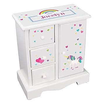 MyBambino Personalized Girls Unicorn Jewelry Armoire Chest Box Box w drawers necklace holder