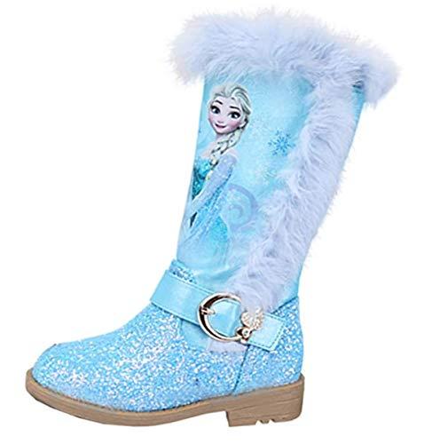 YOGLY Mädchen Stiefel Frozen Queen ELSA Blue Pailletten Prinzessin High Heel Stiefel Weihnachtsferien Hochzeit Winterferien Warme Kinder rutschfeste Stiefel 25-36CM
