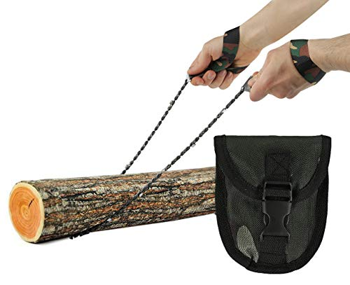 Pocket Chainsaw - Razor Sharp Self Cleaning 25.5 In Portable Hand Saw Survival Gear with Black Holster for Camping,...